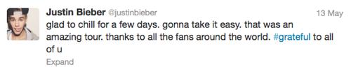 Justin Bieber Ariana Grande Tweet Justin-bieber-tweets-he-home